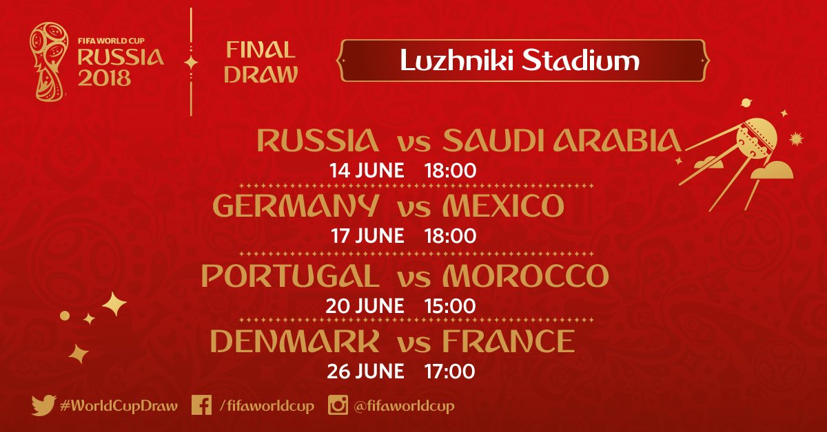 The opening match 🇷🇺😁🇸🇦 The #WorldCup holders' first game 🇩🇪💪🇲🇽 The European champions in action 🇵🇹🙌🇲🇦 And a tasty all-European clash 🇩🇰😋🇫🇷  ❓Which group game at the new-look Luzhniki Stadium are you most excited about?!