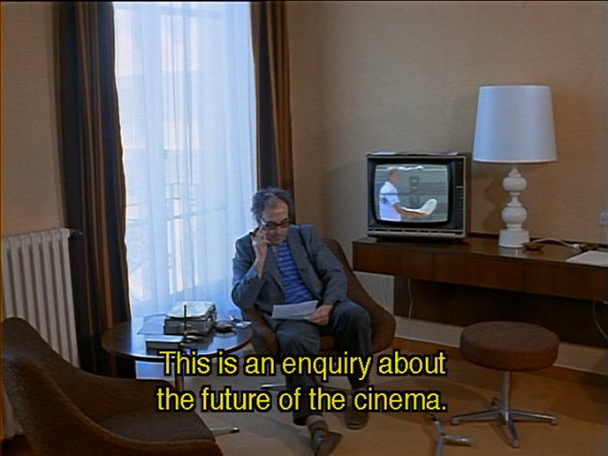Happy 87th birthday to Jean Luc Godard, who appears in Wim Wenders\s Room 666, showing here on Thursday!