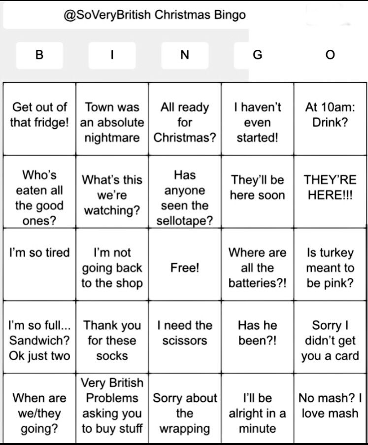 here it is the very british problems christmas bingo stick it on the fridge - Christmas Bingo