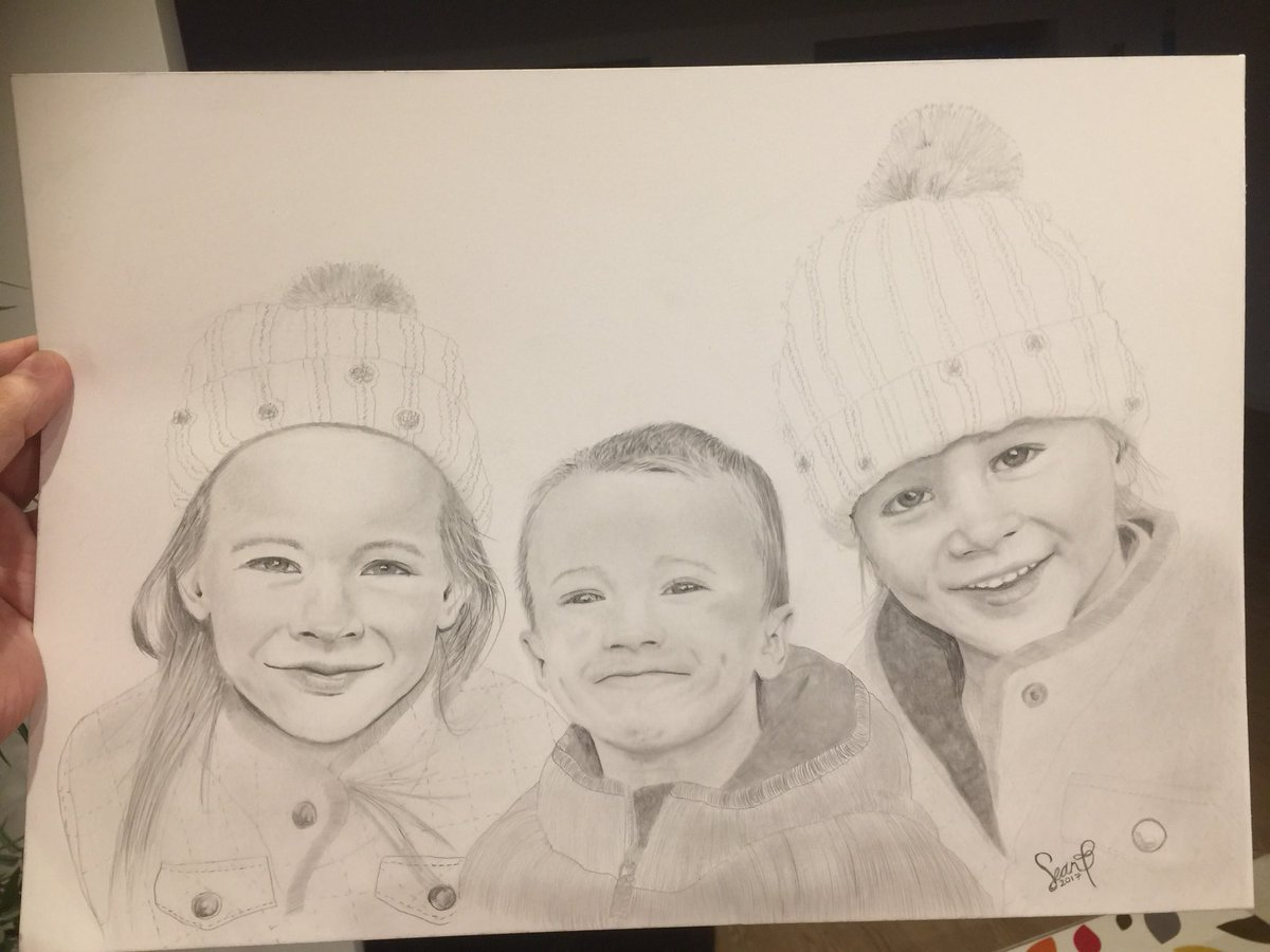Pencil portrait of friends kids for her 30th birthday hat winter christmas art sketch artist face eyes mouth boy girl drawing