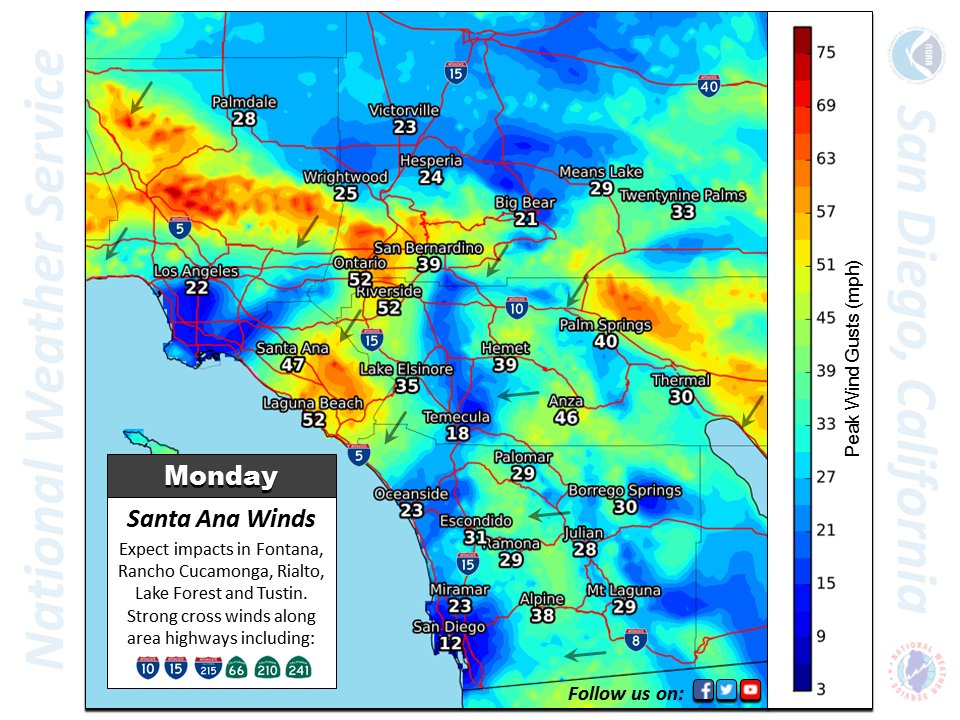 Here are the forecast peak wind gusts for Monday / Expect higher gusts Tuesday #SoCal #SantaAnaWinds