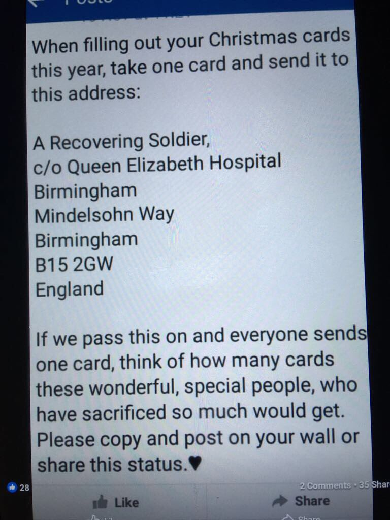 Collection of Where To Send Christmas Cards For Recovering Soldiers ...