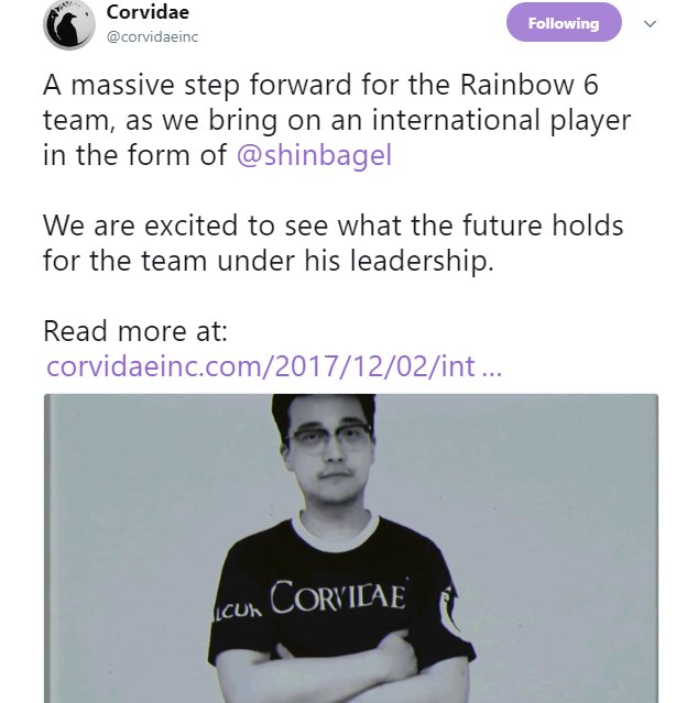 #R6S :  #RosterMania #ICYMI   Last Week, @corvidaeinc Announced The Signing Of Their First International Player, @shinbagel To Their APAC #r6pl Squad, Who Will Move To Melbourne To Join Them!  Info & Interview:  https://www. corvidaeinc.com/2017/12/02/int ernational-murder/  …   How Well Will They Do In Season 4?pic.twitter.com/wYgVB63WIy