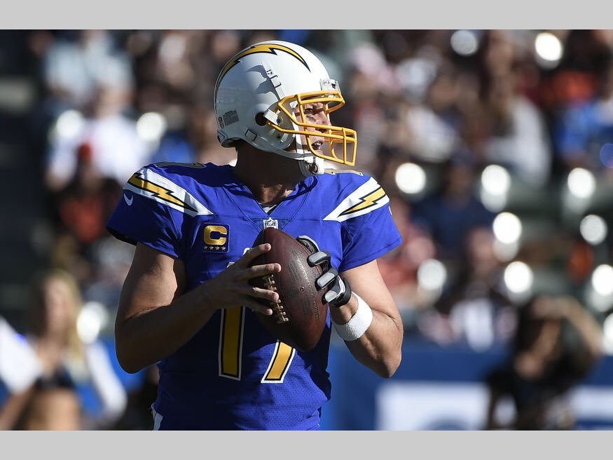 0ac8e1d2e The Los Angeles Chargers used their Color Rush uniforms for today's game.  The usual navy-blue facemask is swapped with a yellow mask.