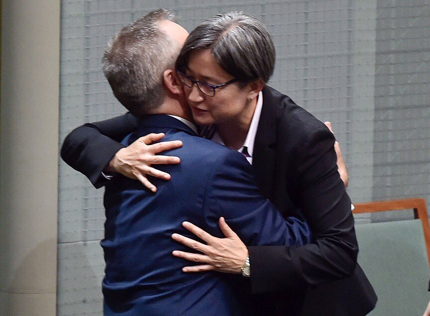 """I want to pay special tribute to @SenatorWong.  Penny, yours has often been a lonely road and a hard road. And whilst you're too modest to say it yourself, in the years to come, Sophie will be able to tell your children about the time that their mum helped change Australia."""