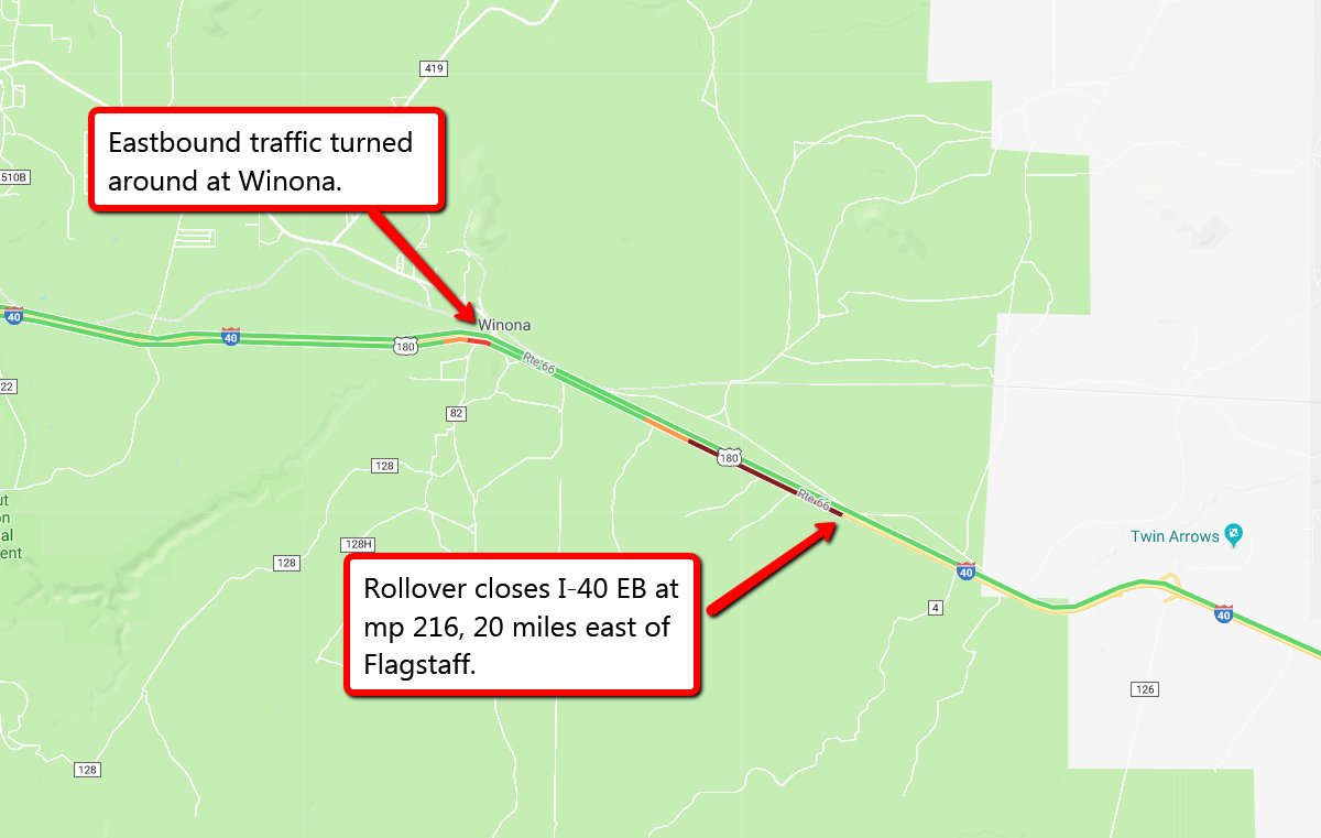 Map Of Arizona I40.Arizona Dot On Twitter I 40 Eb Is Still Closed No Estimated Time