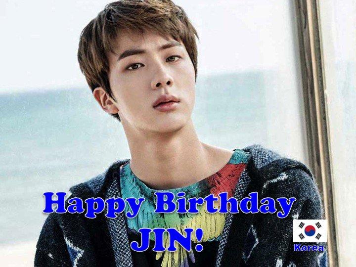 Happy 25th Birthday to #BTS's #JIN! #HAPPYJINDAY! #worldwidehandsome! @BTS_twt  💖🇰🇷🎤🎶🎼🎸🎂🎉🎁🎈🌟💫🎇