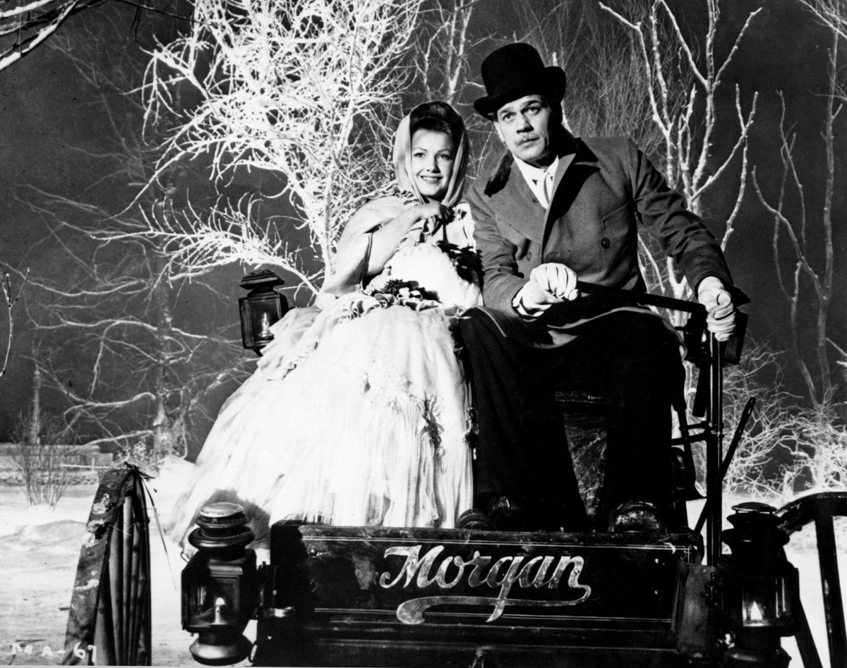 Anne Baxter and Joseph Cotten in THE MAGNIFICENT AMBERSONS (directed by Orson Welles, 1942). The film was scored by Bernard Herrmann, but you won't find his name in the credits. After RKO butchered his score during editing, Herrmann had his name removed from the picture.