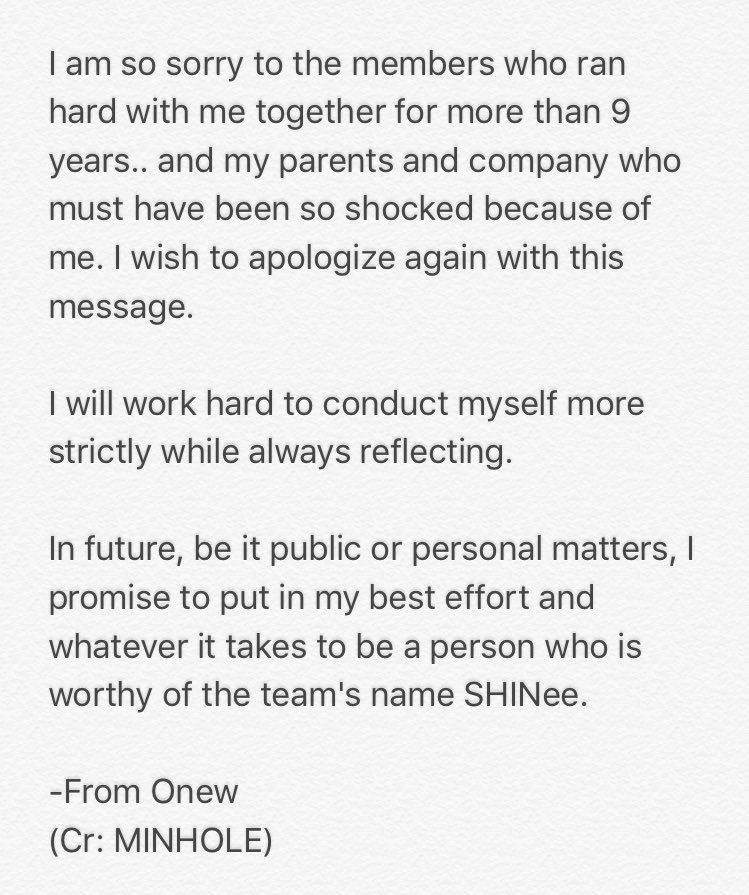Onews Apology Letter Celebrity News Gossip OneHallyu
