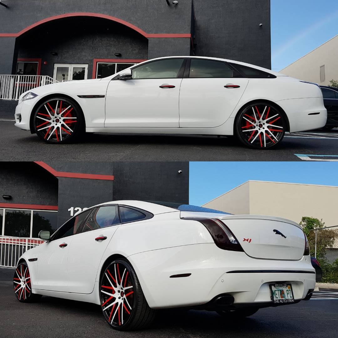 Alex Vega On Twitter More Pictures Of This Jaguar Xj Fresh White Paint Job With Black Red Accents New Hood Vents Custom Avorza Interior Sitting On Avorza Av47 Forged Wheels Red