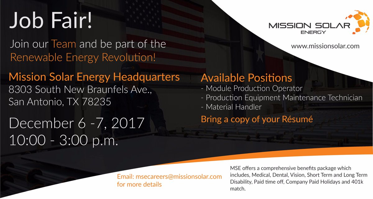 Our sister company MissionSolar is hiring and