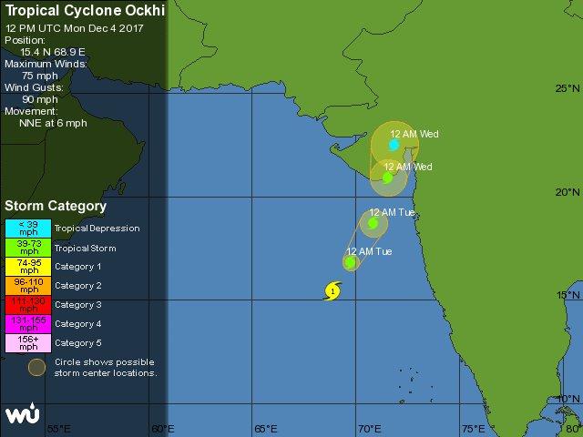 Okhi cyclone may hit the south Gujarat, Saurashtra coast around December 5 midnight : Gujarat govt