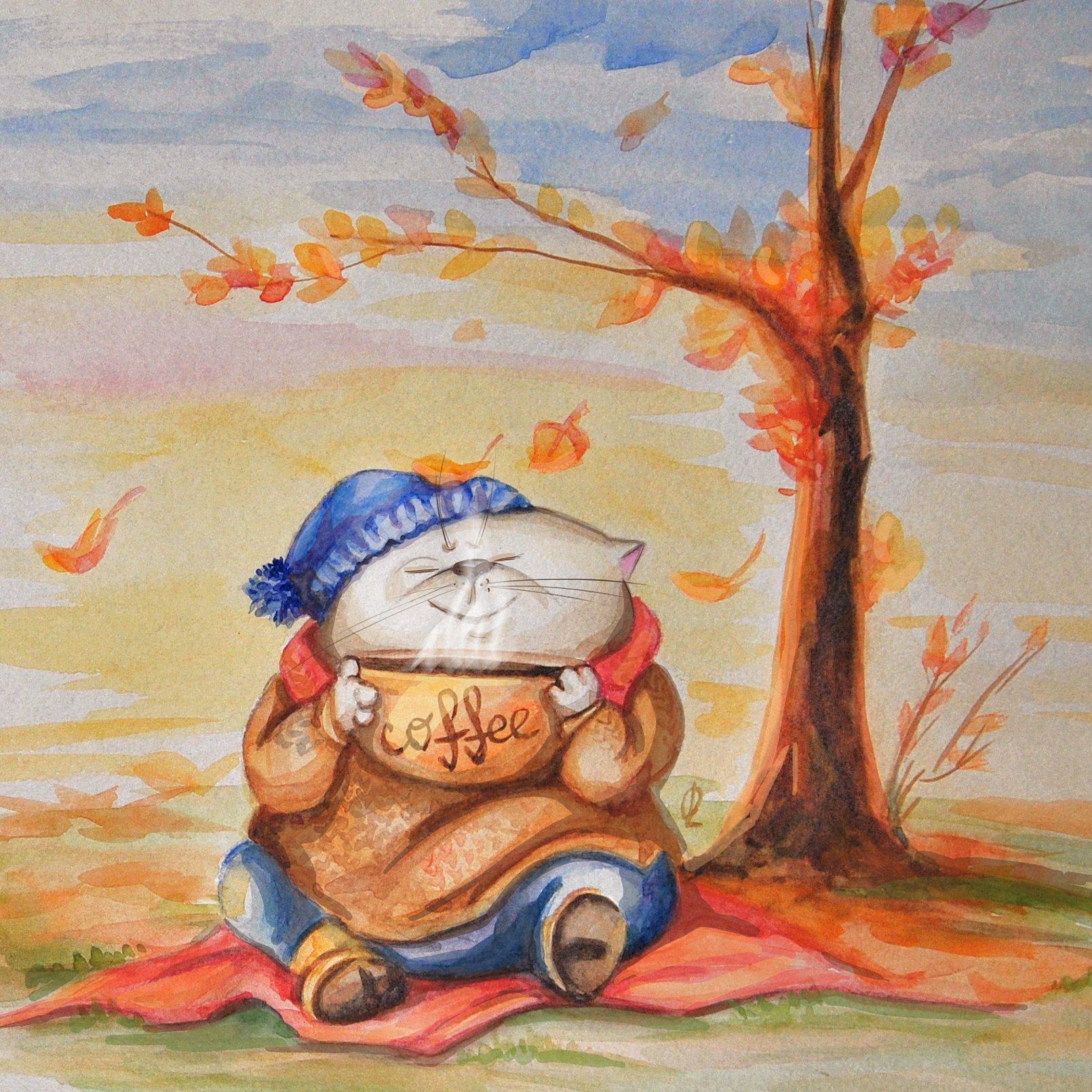 Открытки, открытками на которых нарисовано осень
