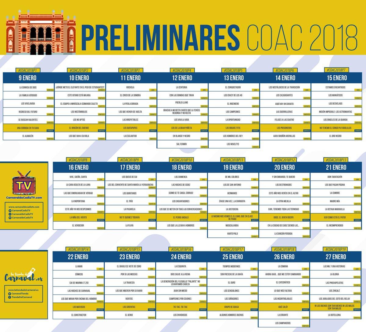 Calendario Coac 2019.Carnaval De Cadiz Tv On Twitter Poco Mas De 1 Mes Para El 2018