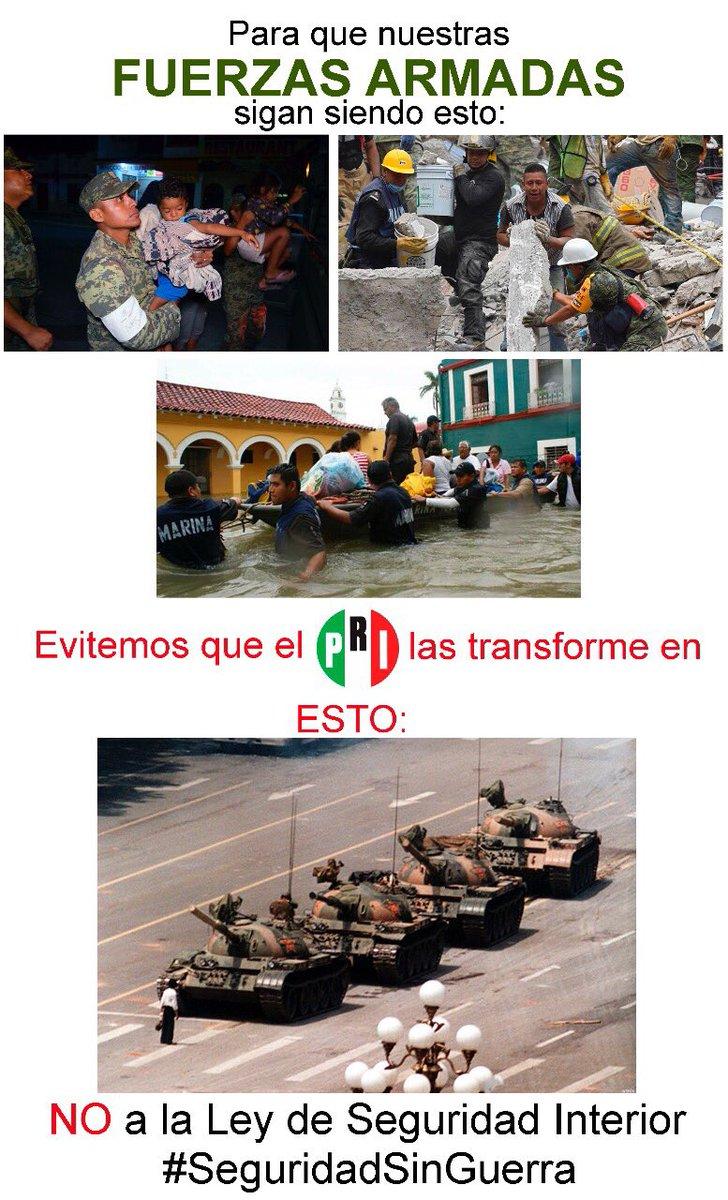 Así👇. Sí a la regulación de las Fuerzas Armadas. No a la #LeyDeSeguridadInterior que les da licencia para matar.