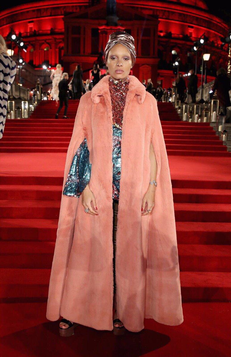 Model of the Year Award nominee @adwoaaboah_ on the #FashionAwards 2017 red carpet #Swarovski