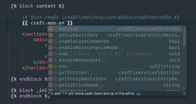 Nystudio107 On Twitter Get Full Auto Completion Of The Craft App Apis In Phpstorm In Your Twig Templates Just Enable The Symfony Plugin Then Add This To The Top Of Your Templates