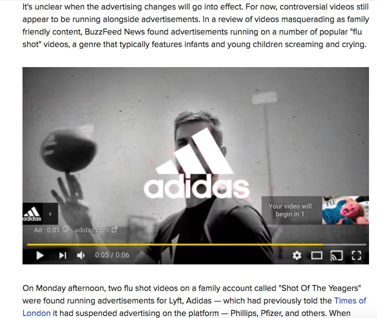 Charlie Warzel On Twitter Youtube Says Its Going To Find A New Approach On Advertising As Of This Morning Ads From Lyft Adidas And Others Were Running Before Ads Of Infants Being