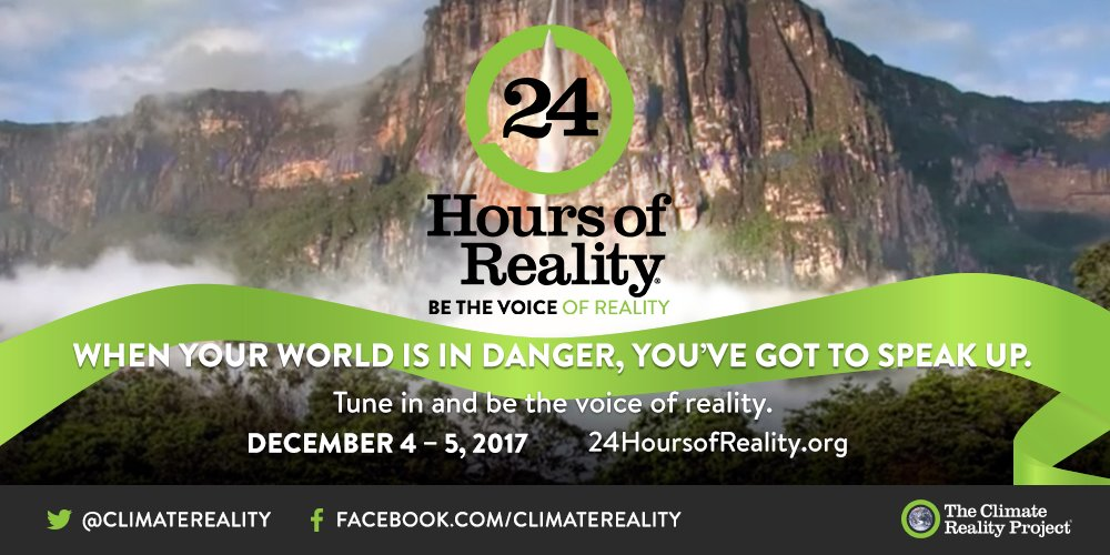 We're about to kick off another #24HoursofReality join us starting tonight at 6pm ET. 24hoursofreality.org