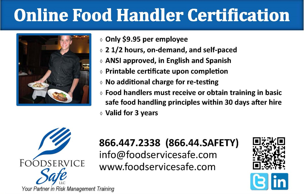 Foodservice Safe On Twitter Food Handler Certification Is Required