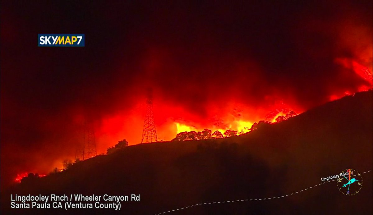 UPDATE: #ThomasFire has grown to at least 10,000 acres as winds continue to fuel blaze https://t.co/k3oNih7acs