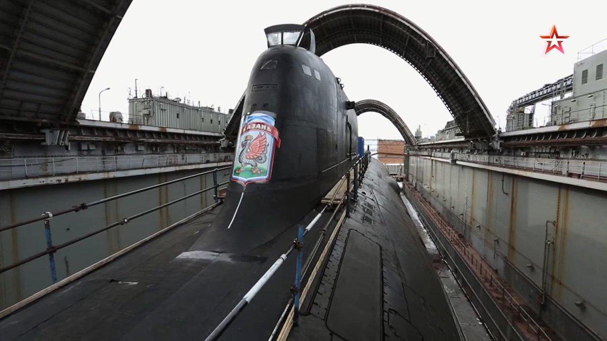Imágenes del submarino #Rusia Project 995M #Yasen-M Class #SSGN #K561 #Kazan en dique de los astilleros #sevmash. Vía @vezhlivo
