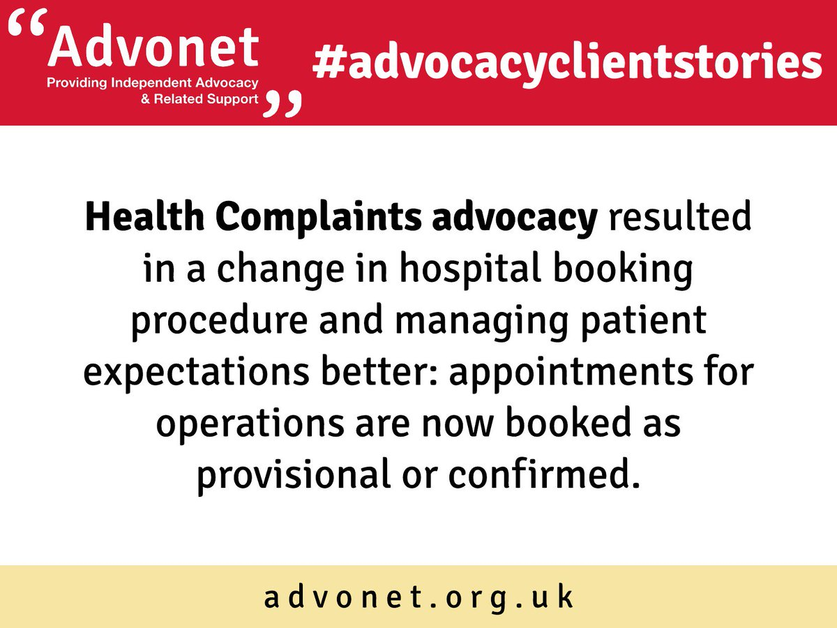 #advocacyclientstories: Health Complaints advocacy resulted in a change in hospital booking procedure and managing patient expectations better: appointments for operations are now booked as provisional or confirmed. #advocacy <br>http://pic.twitter.com/zITBlplBen