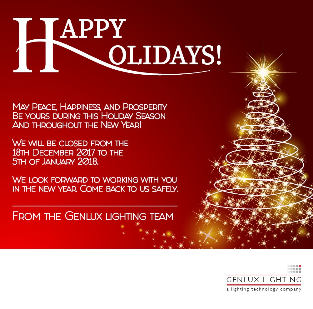 Wishing you a Happy Holiday!  -www.genluxlighting.co.za #Genluxlighting #a_lighting_technology_company #light_creates_colour #Lighting #Products https://t.co/OmhU5ruRef