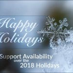 Excited for the Holidays everyone? We are too! Here are the details for our support availability over the holidays. https://t.co/ZCmaV10LNg