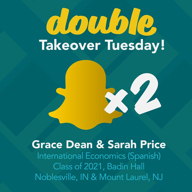 Twice The Knowledge, Twice The Experience, Twice The Fun! Join Best Friends  Grace And Sarah On Snapchat As They Show You A Day In The Life On Campus.
