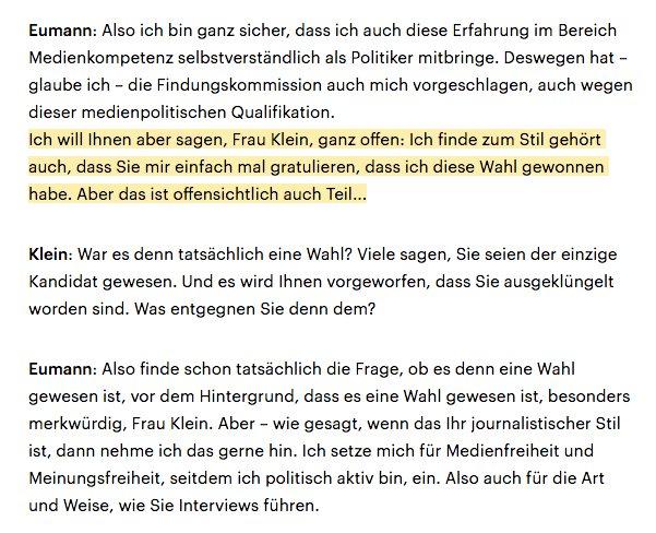 Woa. Marc Jan Eumann (SPD) möchte, dass ihm die @DLF-Interviewerin gefälligst erstmal zur Wahl zum Landesmedienanstalts-Chef gratuliert anstatt kritische Fragen zu stellen. https://t.co/1Srv3OViB4