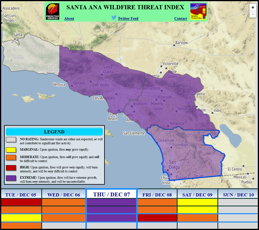 Santa Ana Fire Map.Nws San Diego On Twitter Santa Ana Winds Will Continue Through The
