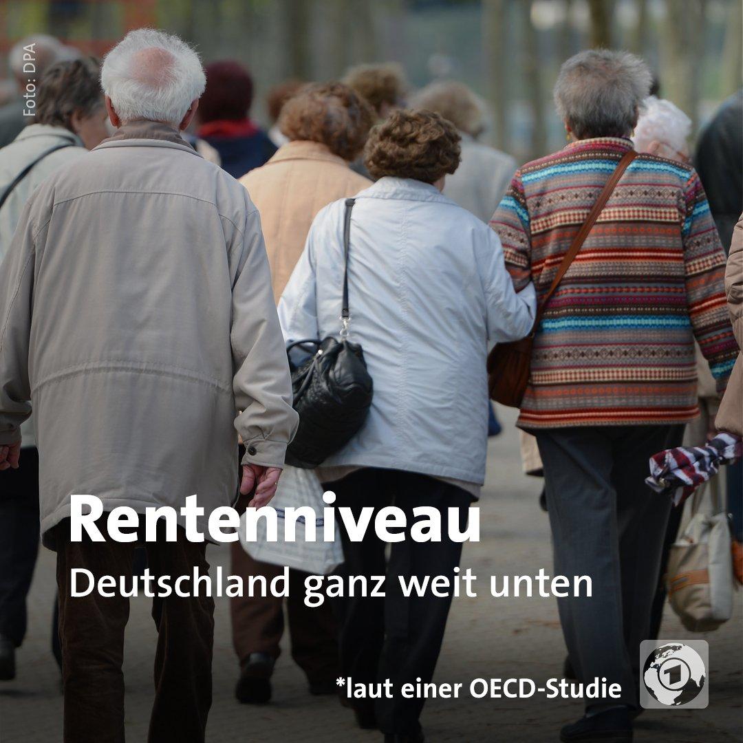 Das deutsche Rentenniveau liegt laut einer OECD-Studie deutlich unter dem Schnitt vieler Industriestaaten. Schlechter stehen nur Mexiko, Polen, Chile, Großbritannien und Japan da.