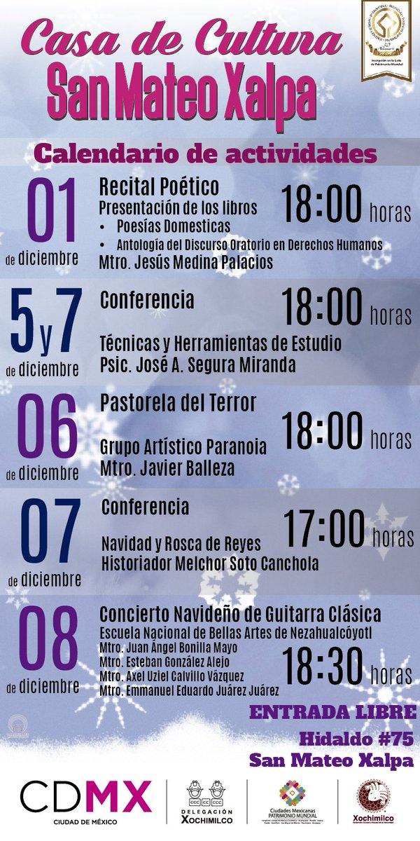 49f91b375 Visita la Casa de Cultura de San Mateo Xalpa y conoce todas las actividades  programadas para este mes de diciembre