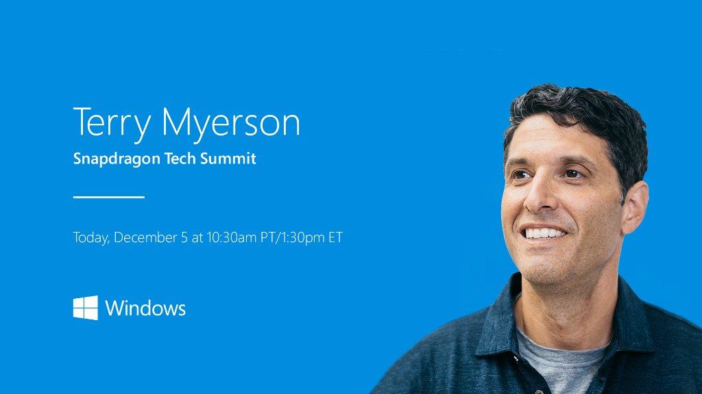 'Live now: @tmyerson presents the latest Windows news1_b@b_1the Qualcomm Snapdragon Tech Summit. Tune in here: https://www.qualcomm.com/snapdragon-tech-summit #SnapdragonSummit' from the web at 'https://pbs.twimg.com/media/DQTaSohX0AAUjpg.jpg'
