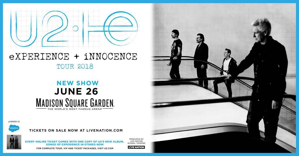 all tickets will now be released for sale at 2pm httpbitlyu2msg18 for complete tour ticket information visit httpu2com pictwittercom - U2 At Madison Square Garden