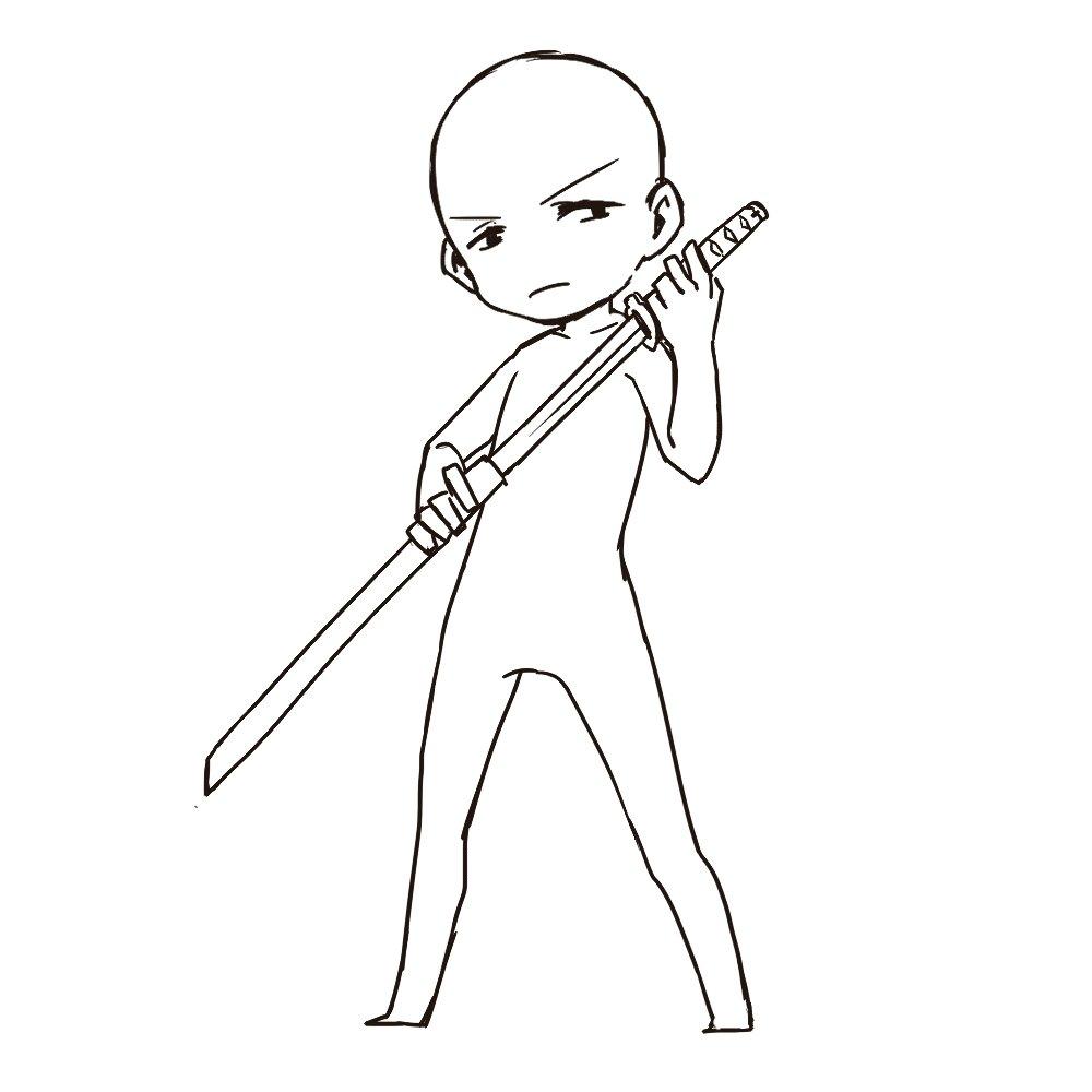 アオ At トレス素材 On Twitter トレス素材 刀ポーズ 表情刀の形状