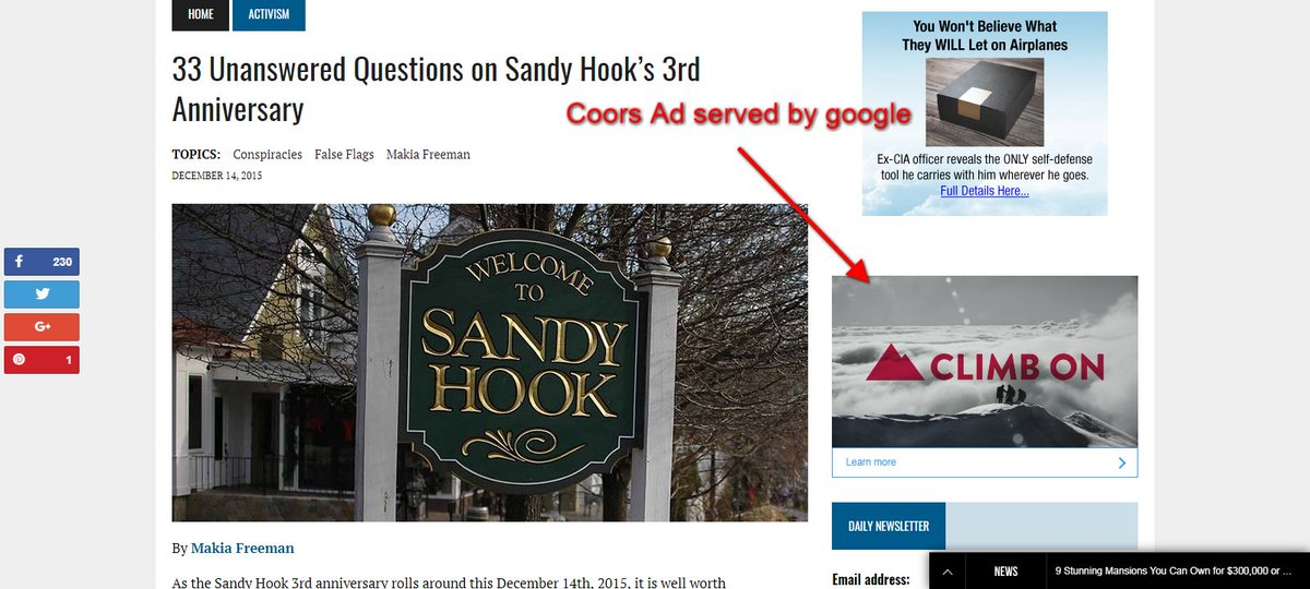Why is @google @AdSense placing their customers' ads on a site dedicated to Sandy  Hook hoaxes??? https://t.co/dZ4qdPumvH
