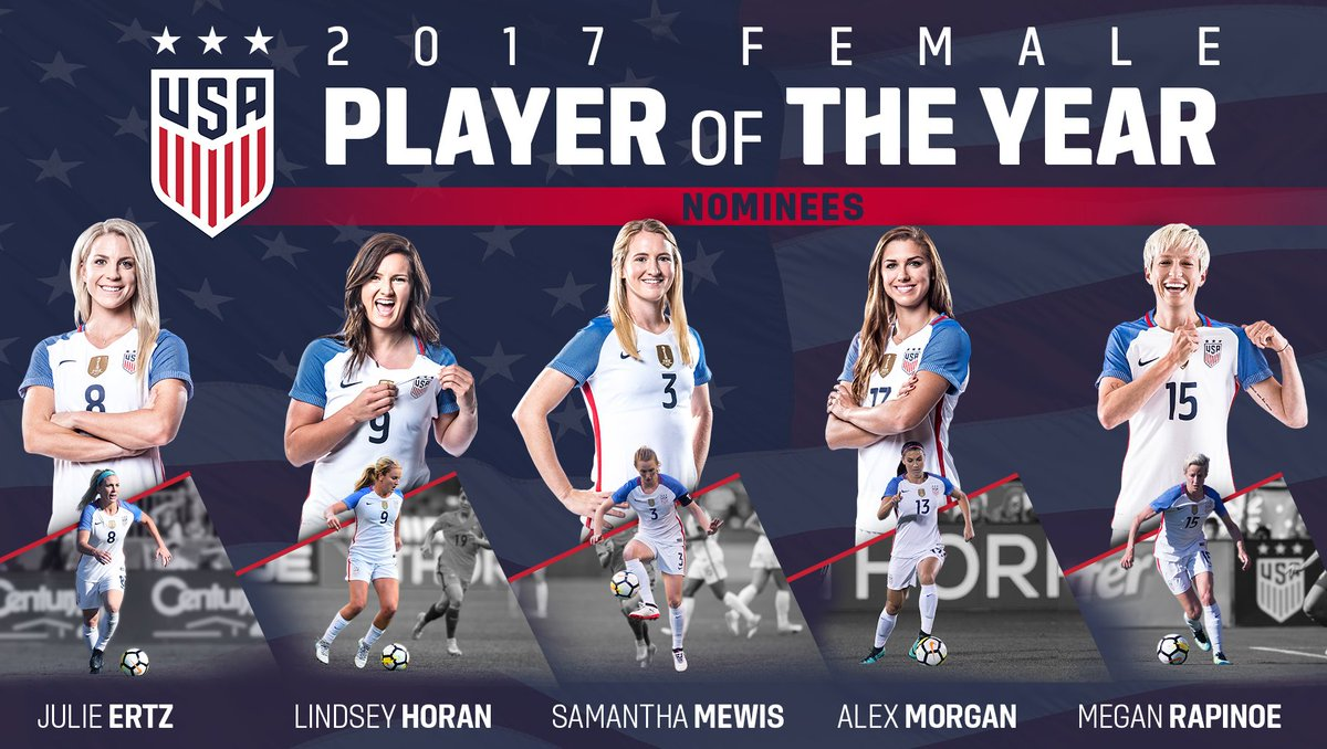 Fab 🖐. And the nominees for 2017 #USWNT...