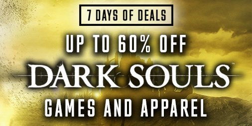 The 7 Days of Deals continue! Today we have a special Dark Souls Flash Sale going on at the Bandai Namco store! Follow the link to find up to 60% off some of your favorite apparel & merch! https://t.co/c0ktFoLHLQ