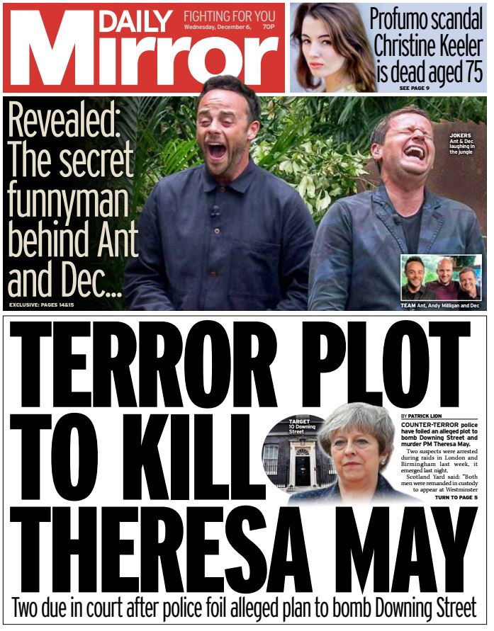 DAILY MIRROR FRONT PAGE: Terror plot to kill Theresa May #skypapers