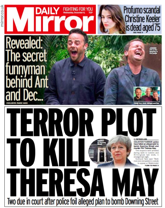 How terror suspects 'planned to bomb Downing Street and murder Theresa May' - tomorrow's Daily Mirror front page https://t.co/kcZMaTeuYt #tomorrowspaperstoday
