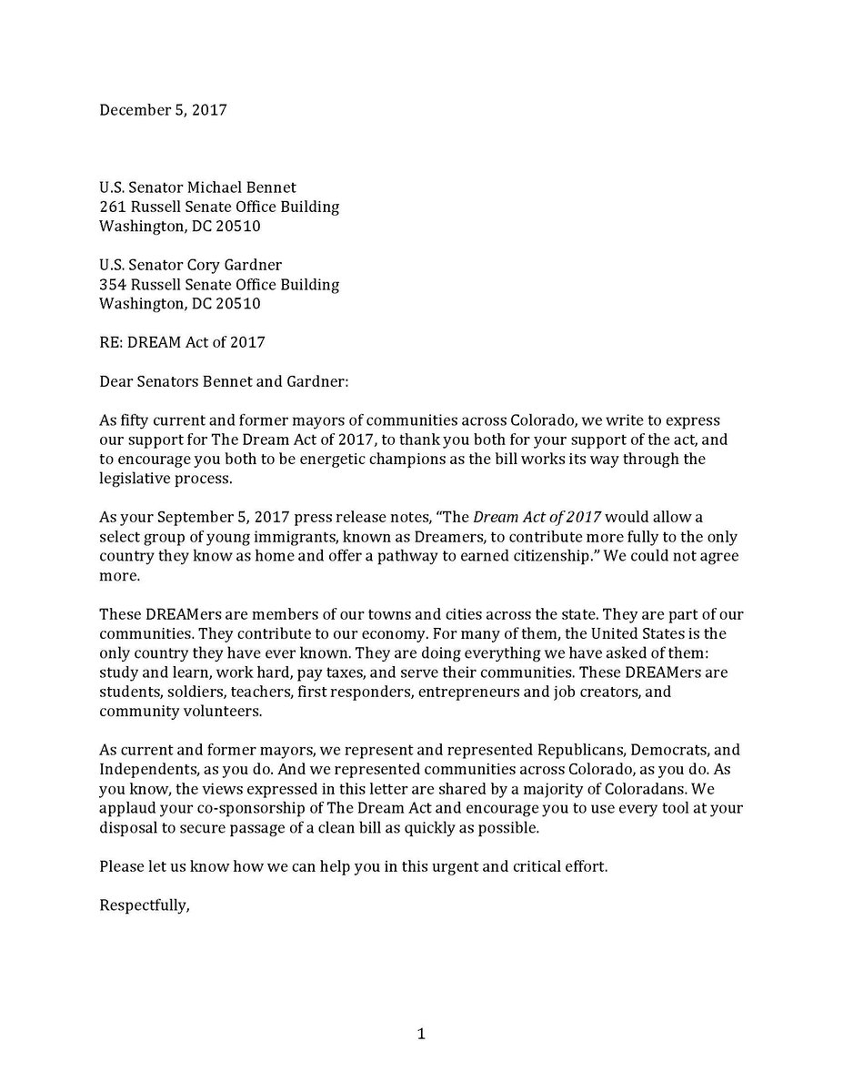 Michael f bennet senbennetco twitter we received this letter today from 50 current former mayors across colorado who know how important dreamers are to our communitiespicitter ccuart Image collections