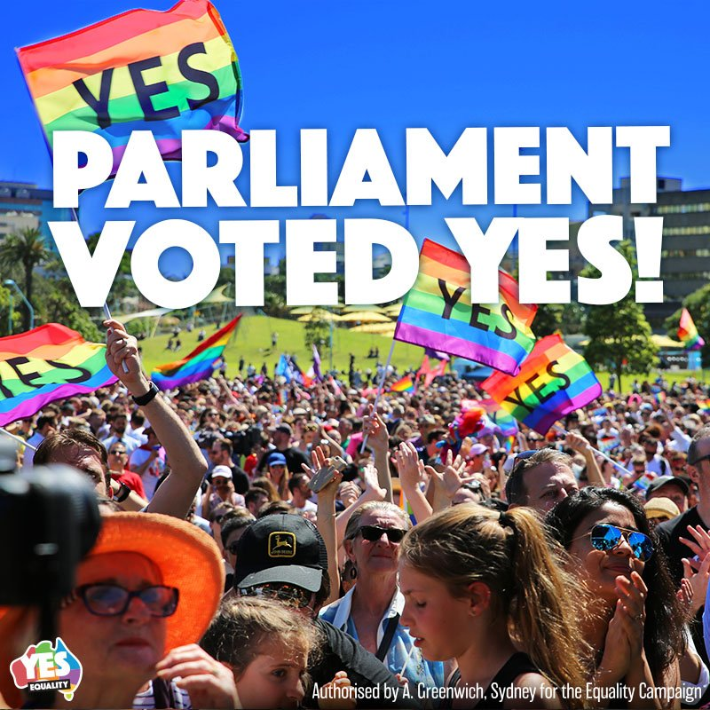 It's a YES! Simply and fairly, #MarriageEquality is now law! Today our country can be truly proud. We did it together! 🎉