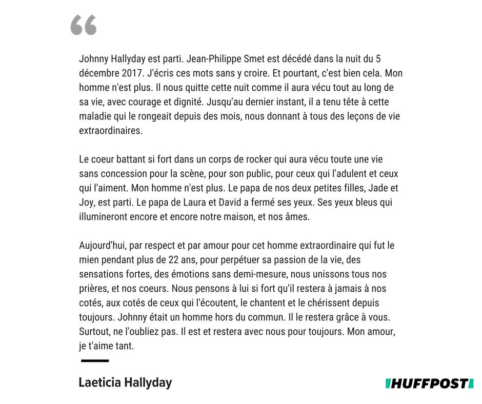 Le Huffpost בטוויטר Le Texte Poignant De Laeticia Hallyday