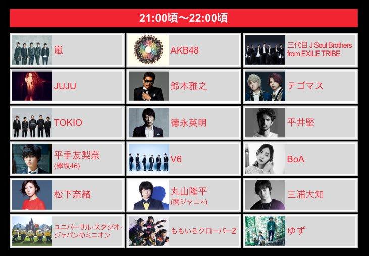 本日 FNS歌謡祭 2017 タイムテーブル🎤  21:00〜22:00 • 三代目J Soul B…