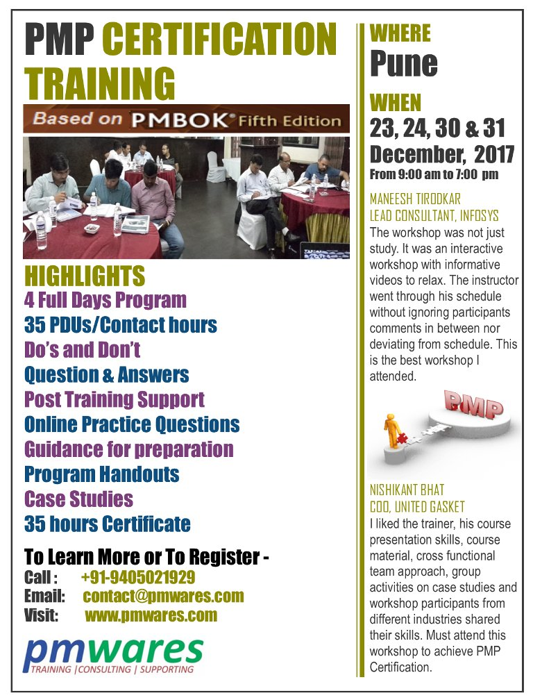 Pmwares On Twitter 35 Hrs Pmp Training In Pune On 23 24 30