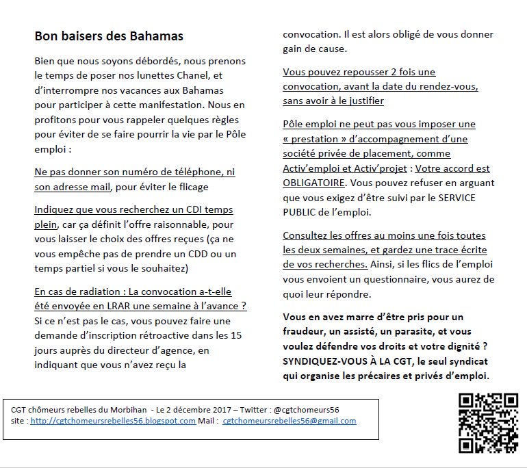 Cgt Chomeurs 56 On Twitter Flicage Des Chomeurs Pour Resister