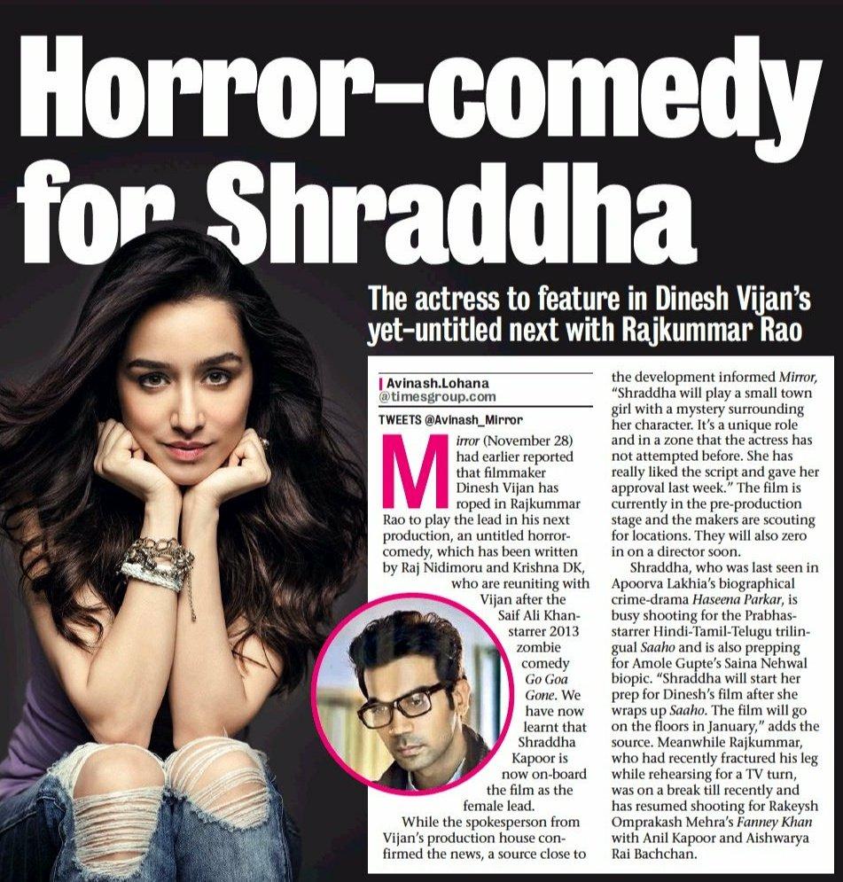 [SCAN]: @ShraddhaKapoor @RajkummarRao team up for a Horror-Comedy!