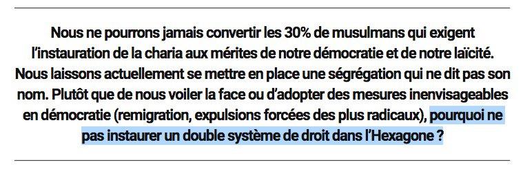 Voilà ce que publie @causeur, le magazine d'Elisabeth Lévy, éditorialiste que s'arrachent beaucoup de plateaux télé. Non, ce n'est pas une blague. Oui, quelqu'un a vraiment écrit cela et d'autres l'ont vraiment publié. https://t.co/ASpHlMool6